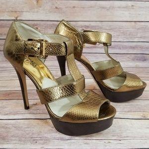 Michael Kors 7.5 Gold Heels Pumps